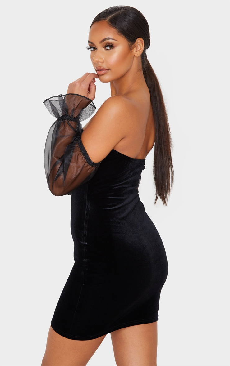 Black Organza Bardot Sleeve Velvet Bodycon Dress 2