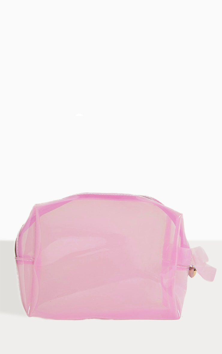 Pink Clear Large Wash Bag 1