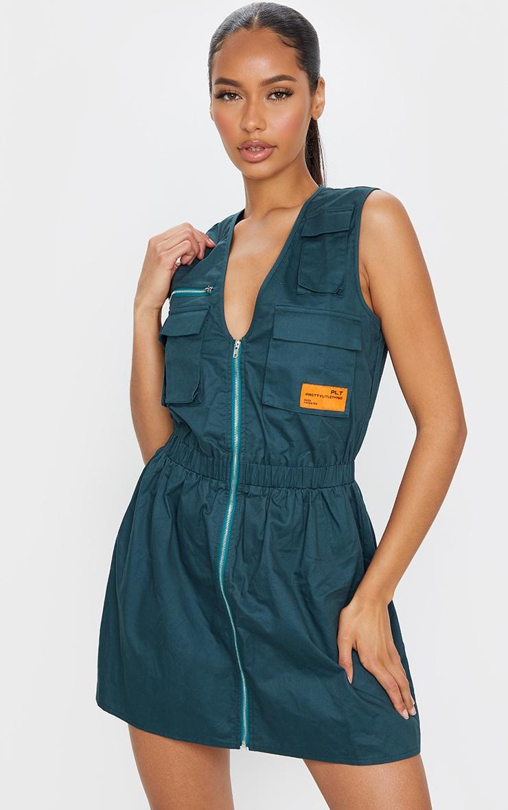 Emerald Green Pocket Zip Detail Sleeveless Utility Dress 1