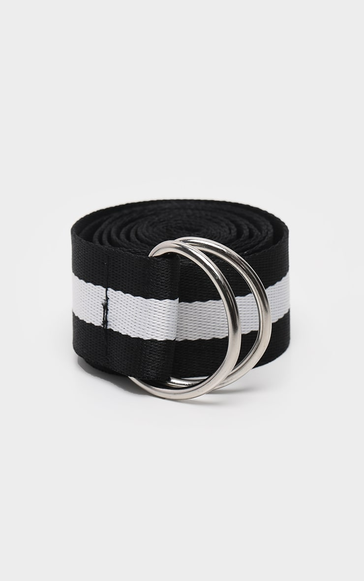 Black And White Striped Tape Belt  2