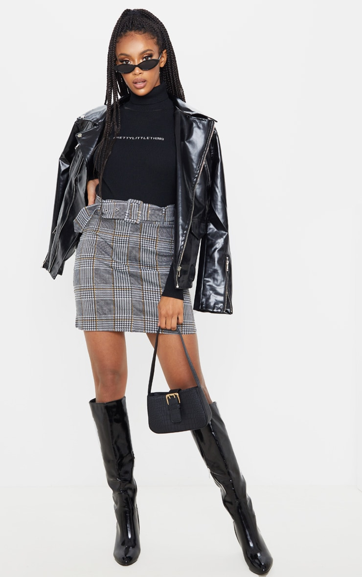 Grey Check Belted Mini Skirt 5