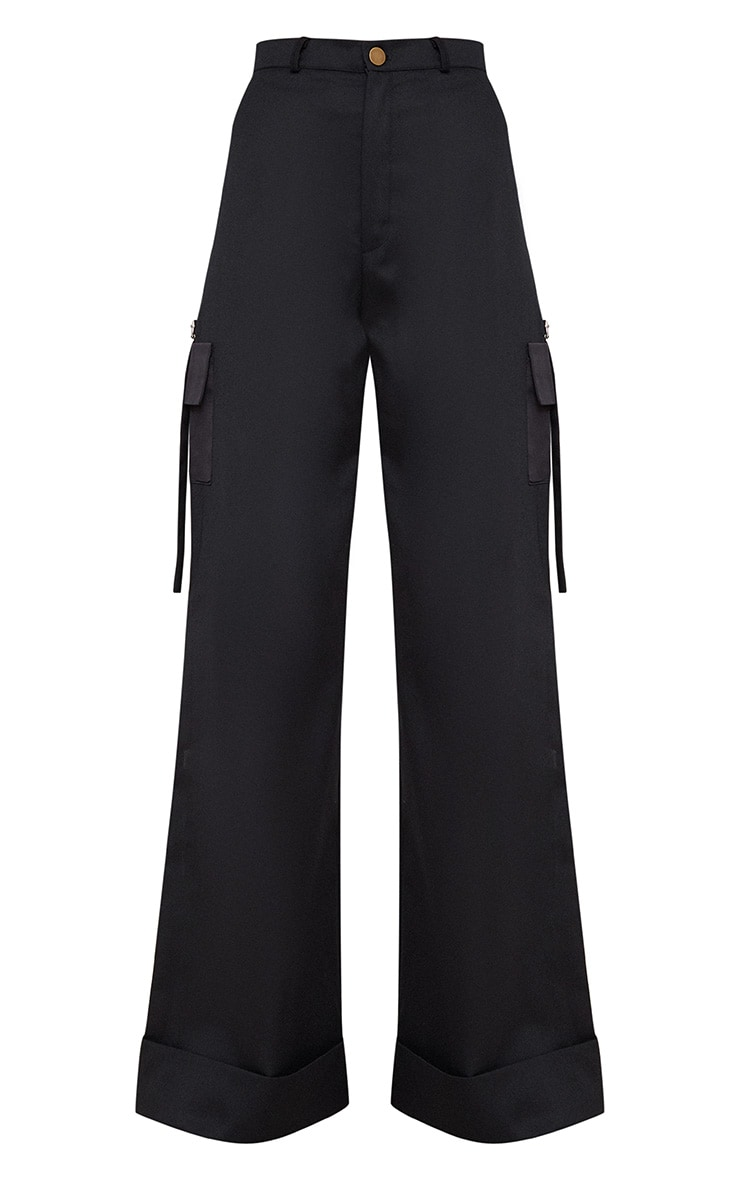 Petite Black Pocket Detail Cargo Trousers 3