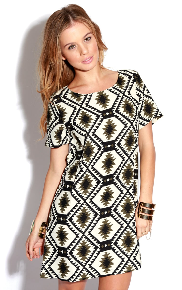 Millu Aztec Khaki Print Dress 4