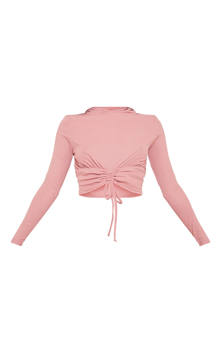Blush Ribbed Ruched Tie Front Hooded Top 5