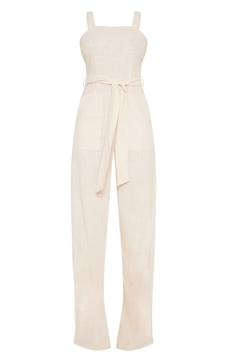 Tall Stone Woven Straight Neck Belted Jumpsuit 3