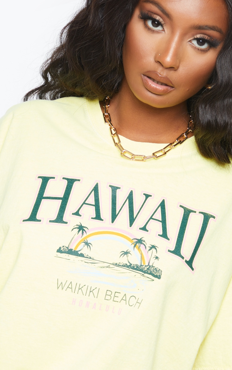 Yellow Hawaii Beach Print Washed T Shirt 4