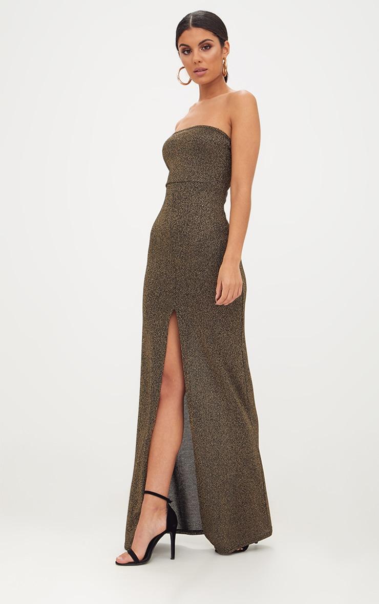 Gold Glitter Lurex Bandeau Maxi Dress 3