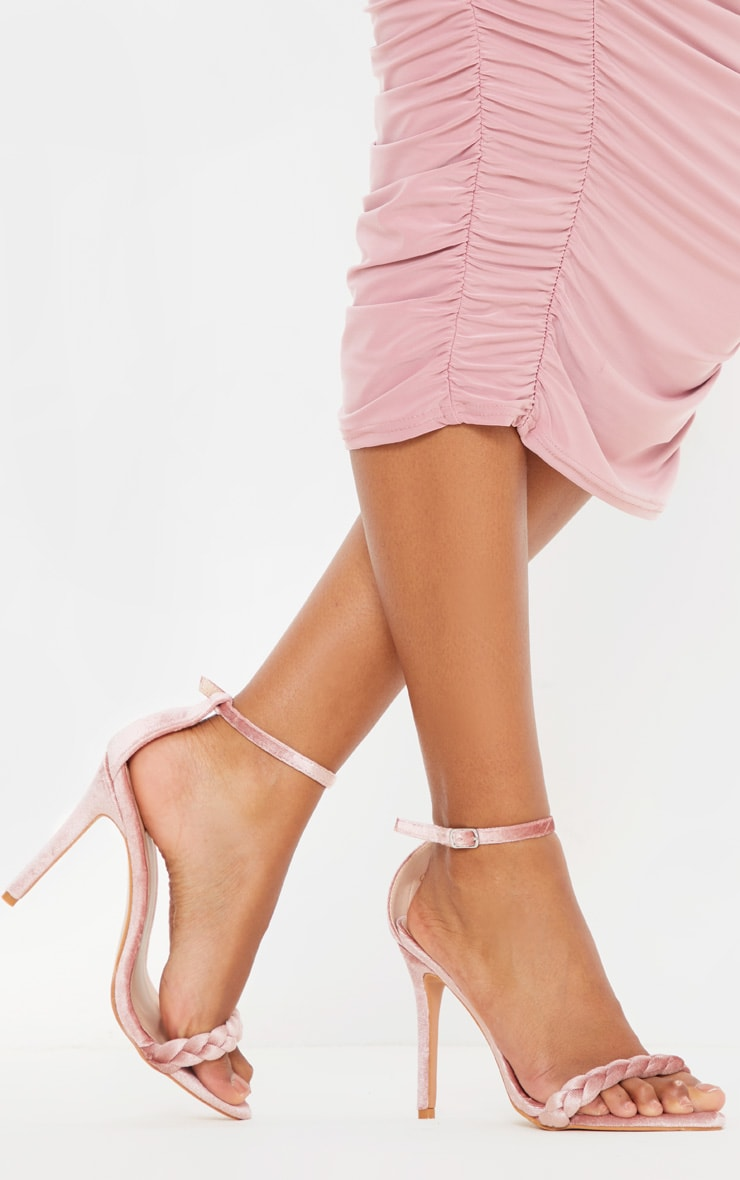Blush Velvet Plaited Strap Point Toe Heeled Sandal 1