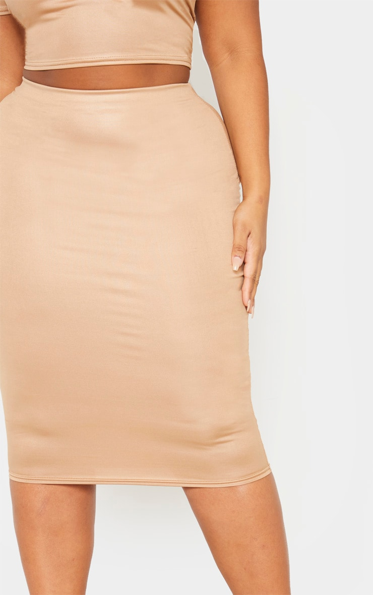 Plus Camel Wet Look Midi Skirt 5