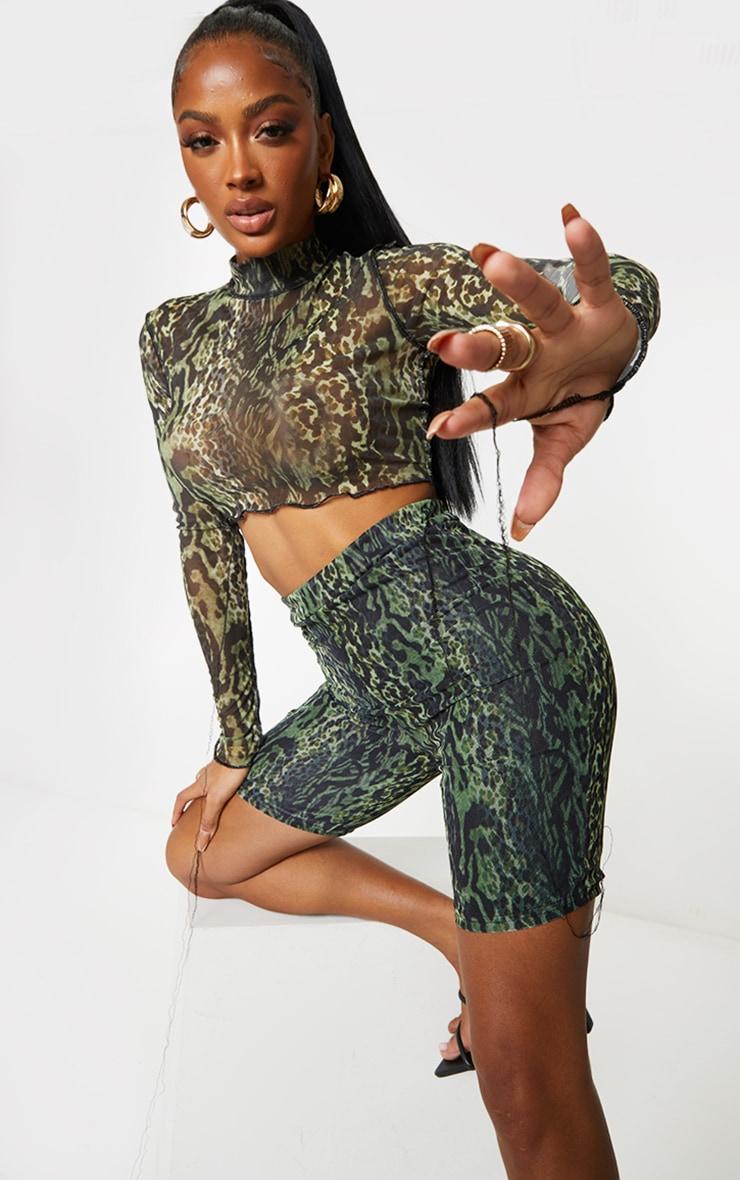 Shape Green Animal Print Mesh Cycling Shorts 4