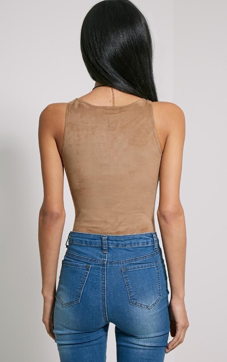 Oksana Camel Faux Suede Deep Plunge Lace Up Bodysuit 2