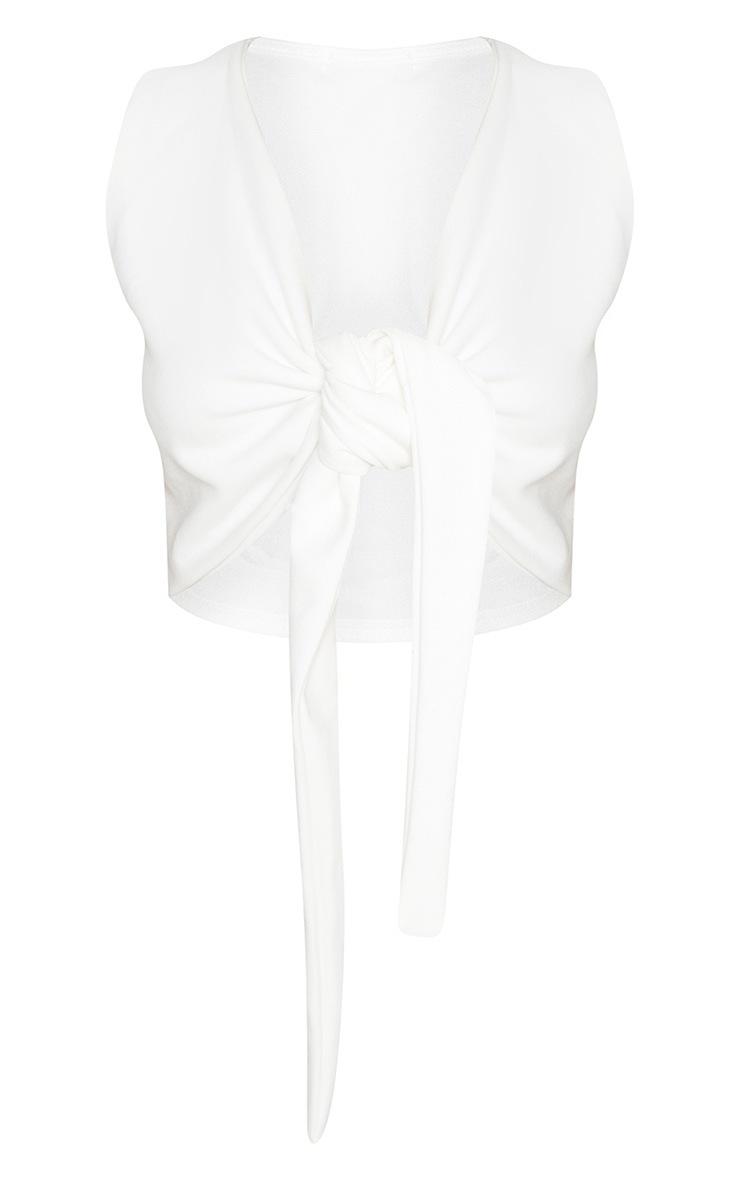 Petite White Tie Front Crop Top 3