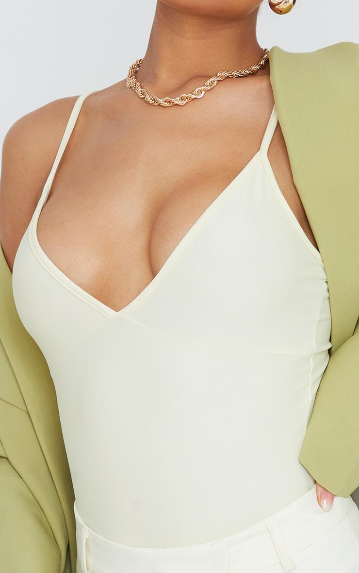 Cream Stretch Slinky Cup Detail Strappy Bodysuit 4