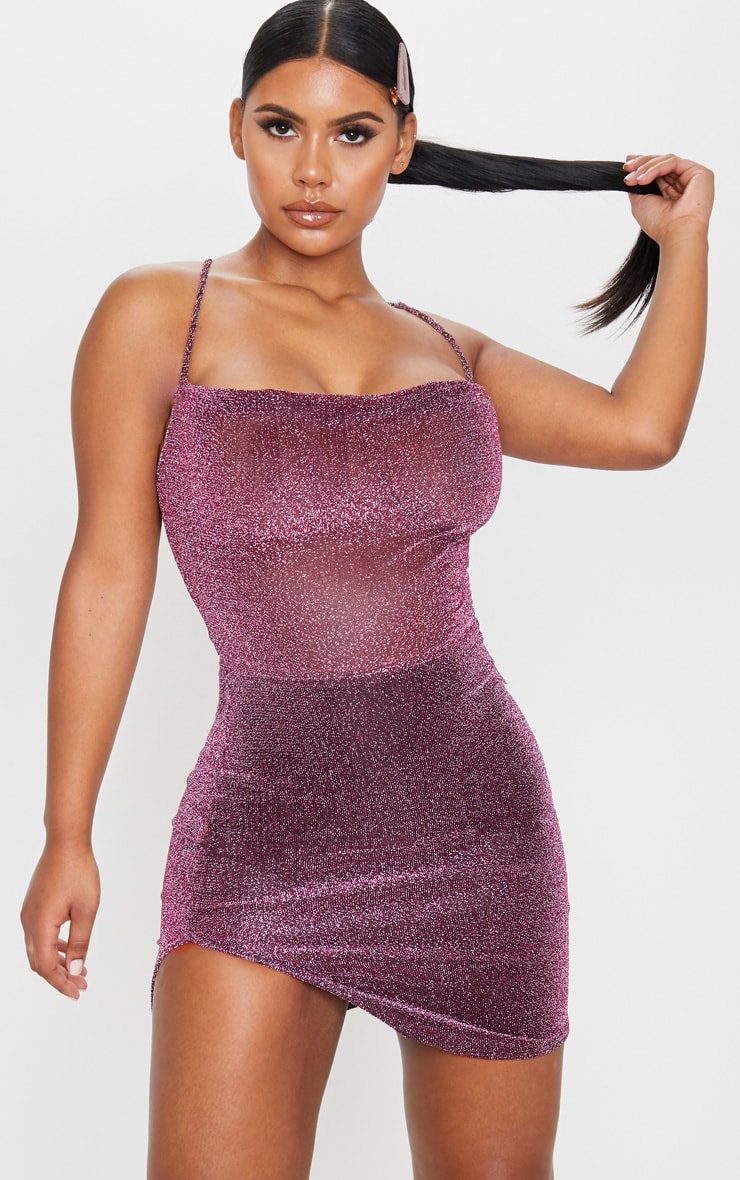 Purple Textured Glitter Strappy Cross Back Bodycon Dress 1