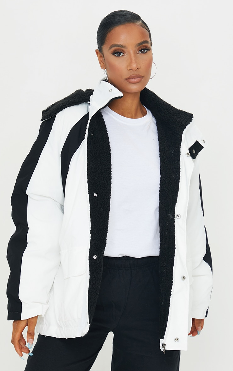 White Padded Contrast Panel Pocket Front Hooded Lined Puffer Coat 1
