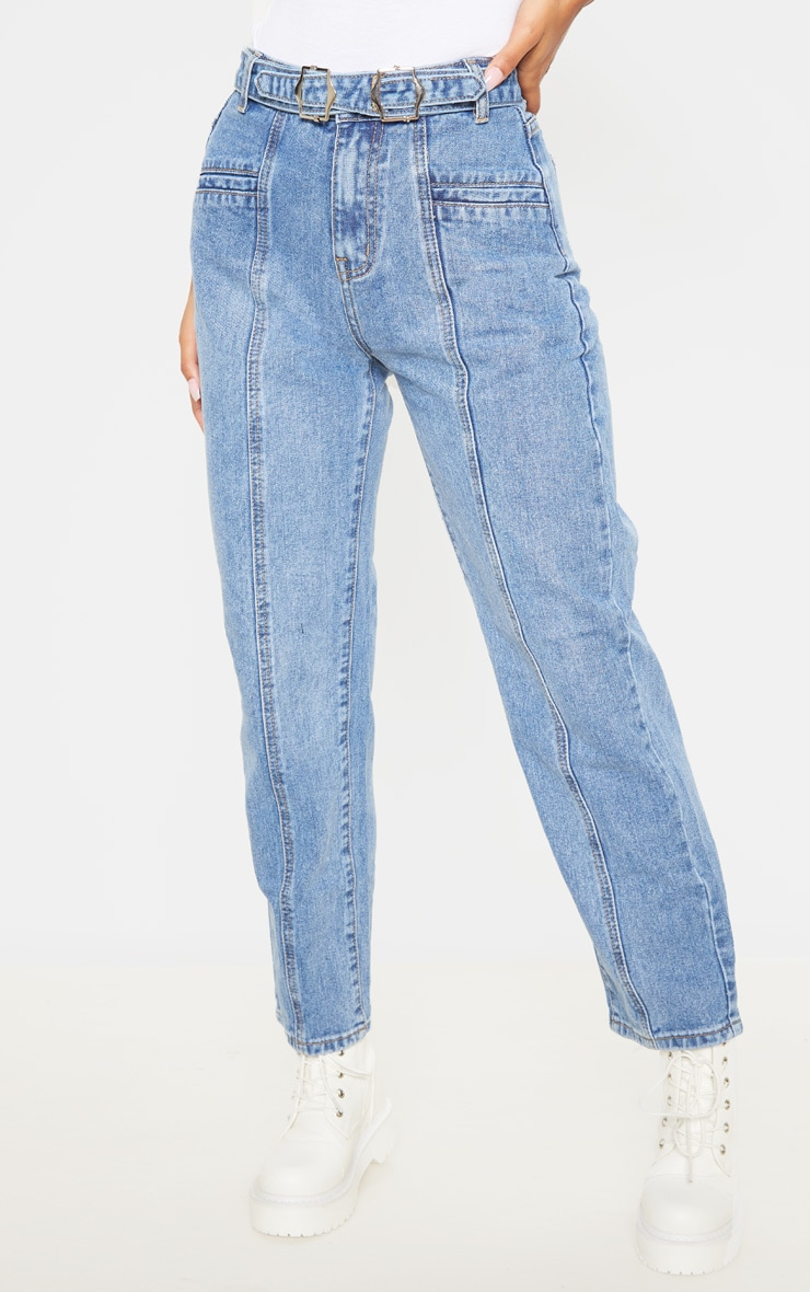 Mid Wash Double Buckle Straight Leg Jean 2