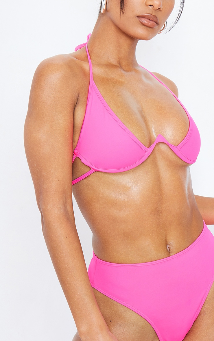 Hot Pink Cleavage Wire Detail Bikini Top 5