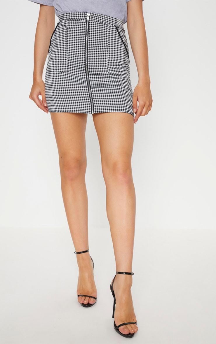 Black Gingham Zip Front Mini Skirt 2