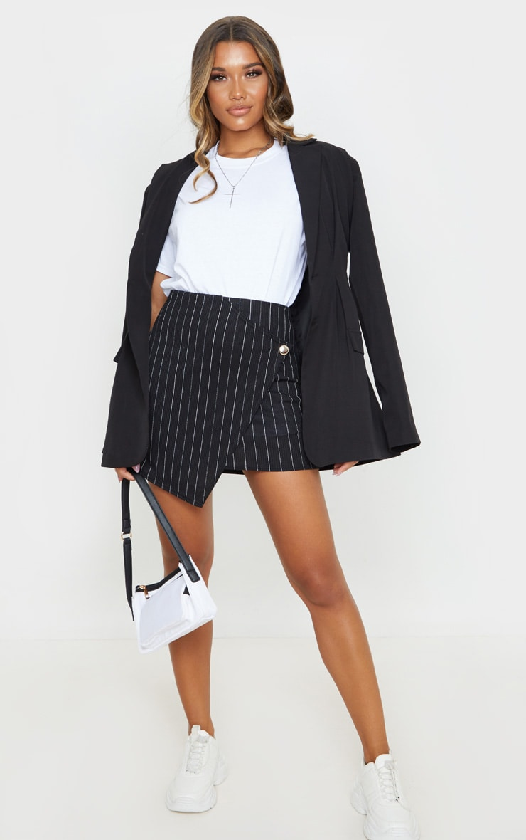 Black Pinstripe Wrap Mini Skirt 5
