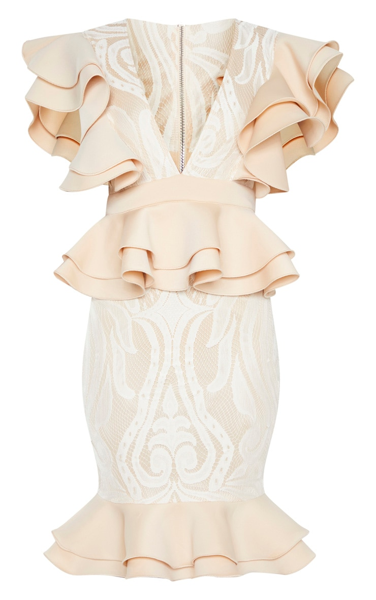 Nude Ruffle Detail Plunge Midi Dress 3