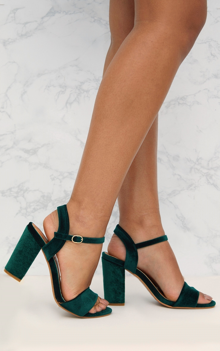 Green Velvet Mid Block Heeled Sandals  1