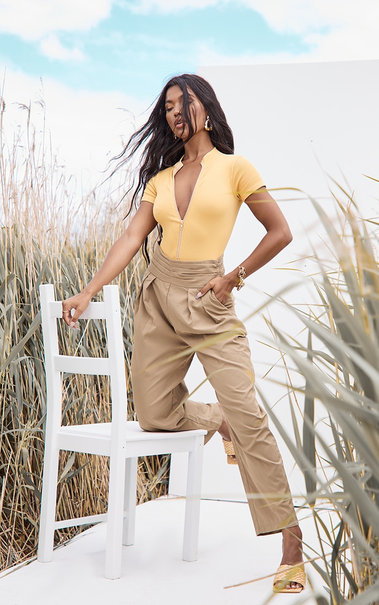 Mustard Structured Contour Ribbed Zip Front Short Sleeve Bodysuit 3