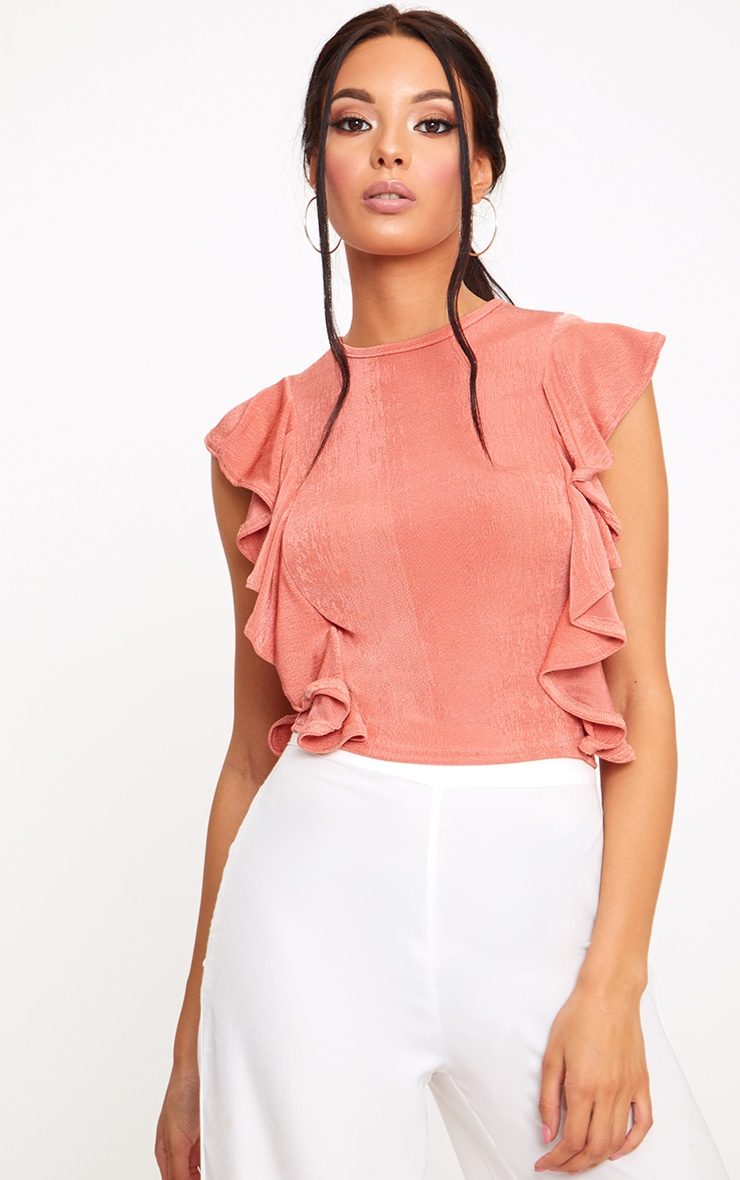 Coral Frill Shimmer Crew Neck 1