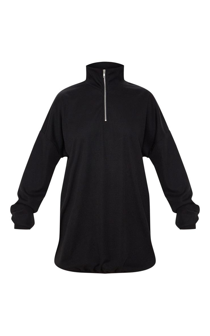 Black Rib Zip Front Elasticated Hem Jumper Dress 3