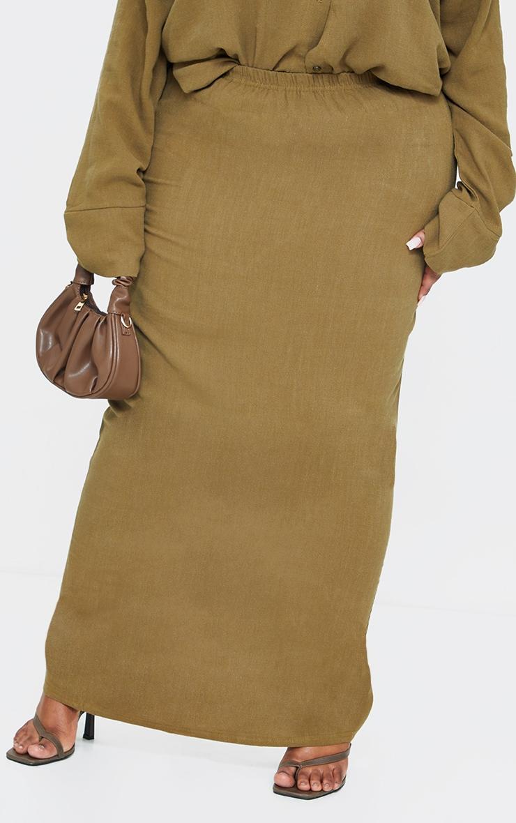 Plus Khaki Woven Midi Detail Skirt 2