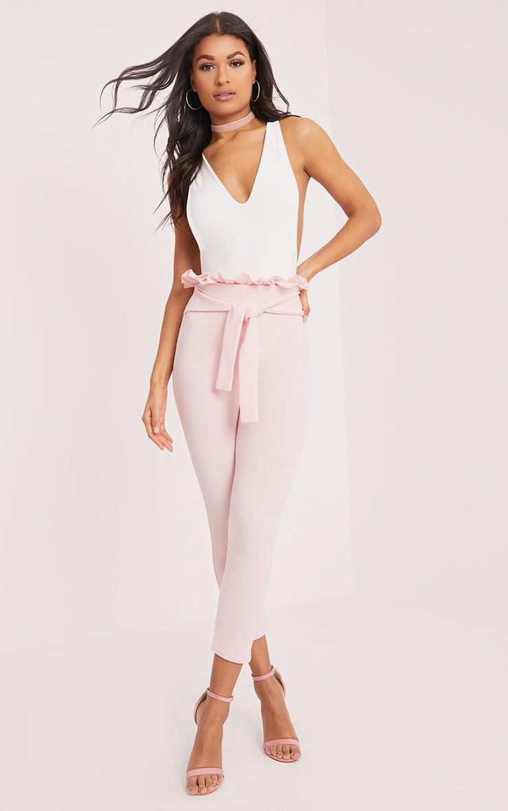 Perlita Pink Paperbag Skinny Trousers 1