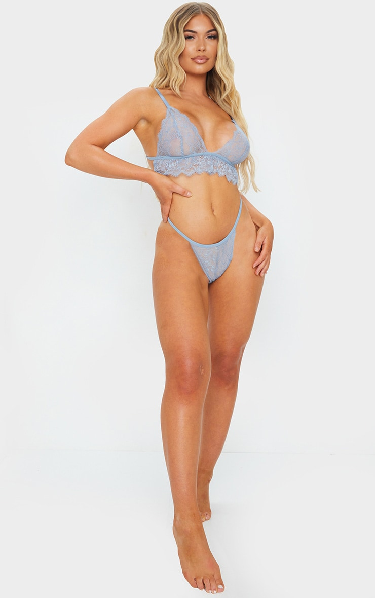 Baby Blue Delicate Lace Triangle Bra And Panties Set 3