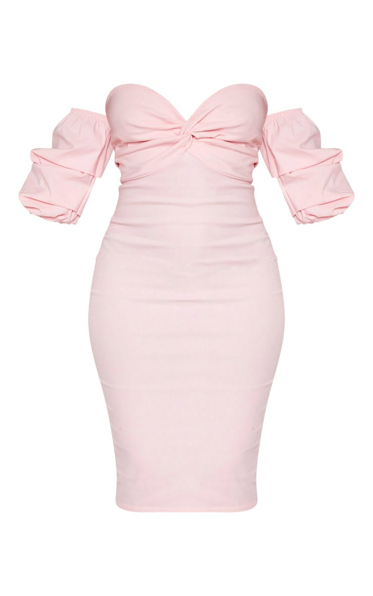 Baby Pink Bardot Twist Detail Midi Dress 3