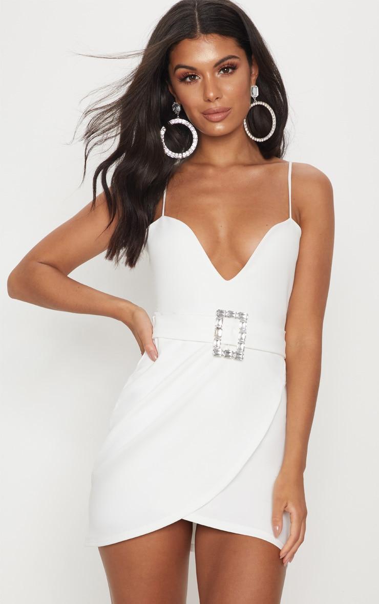 White Strappy Diamante Belt Wrap Bodycon Dress 1