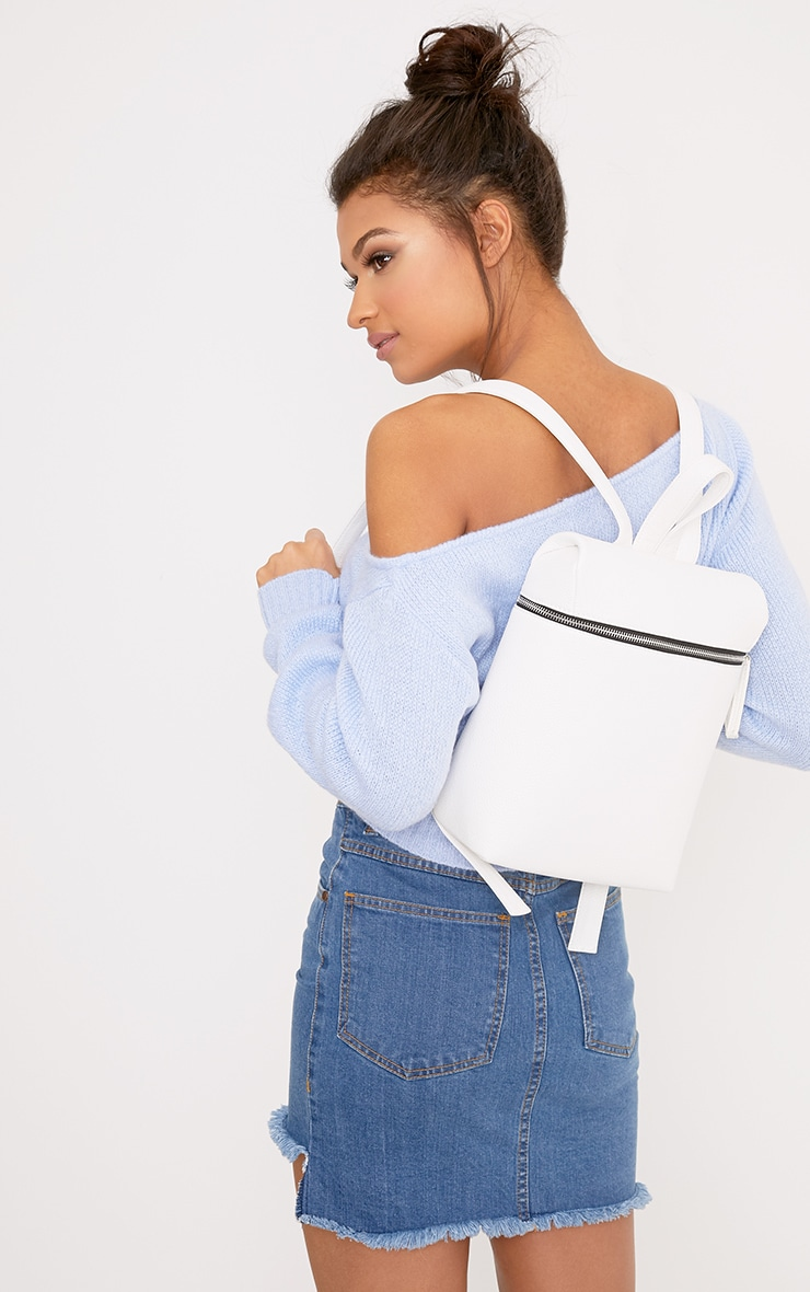 Ophir White Structured Backpack  1