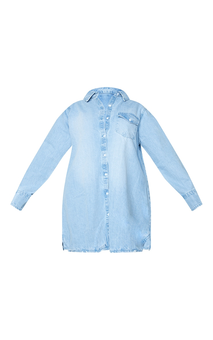 Plus Blue Oversized Denim Shirt Dress 6