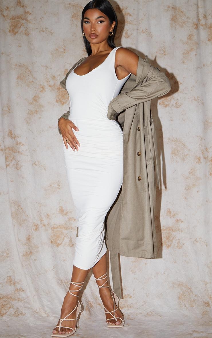 Recycled Cream Contour Jersey Sleeveless Scoop Neck Midaxi Dress 1