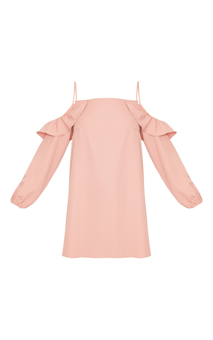 Felicia Dusty Pink Cold Shoulder Frill Detail Swing Dress 3