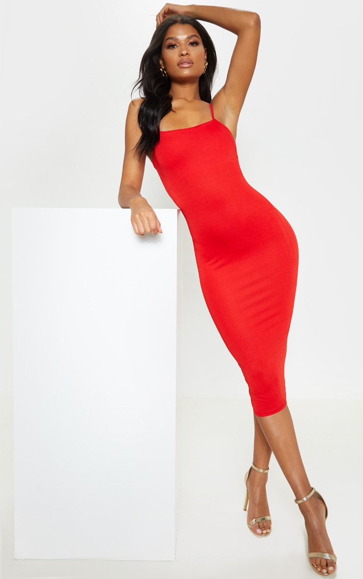 Red Strappy Midi Dress 1