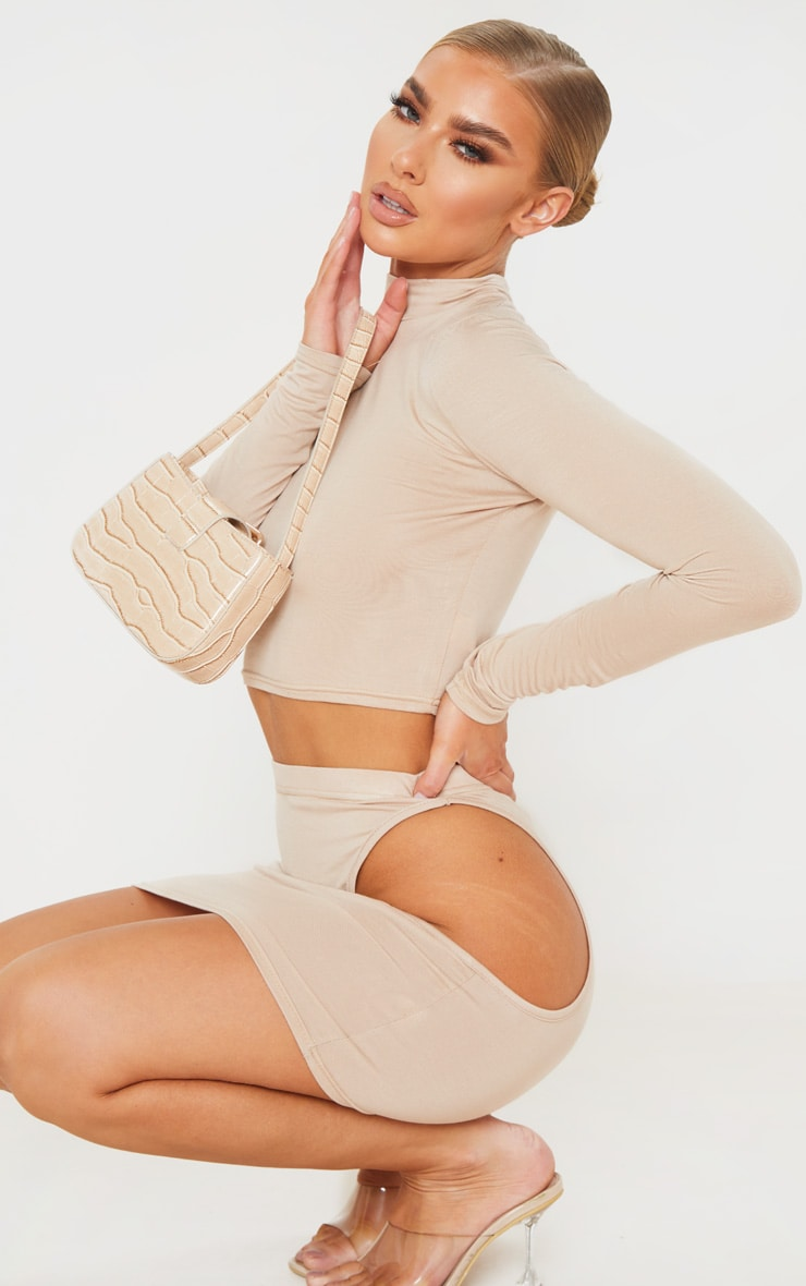 Stone Jersey High Neck Long Sleeve Crop Top 4