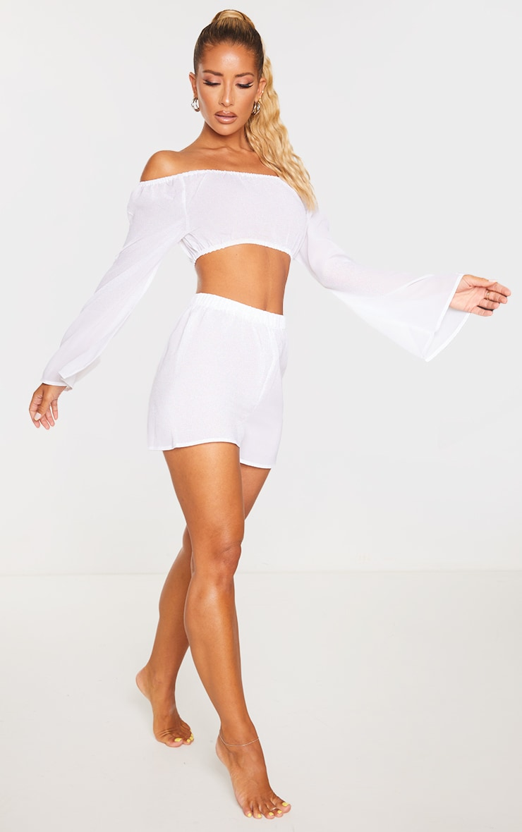 White Off The Shoulder Flare Sleeve Beach Top 3