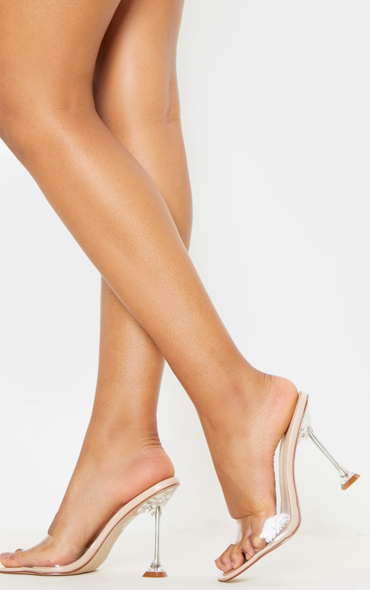 Nude Clear Heel Mule Sandals 3