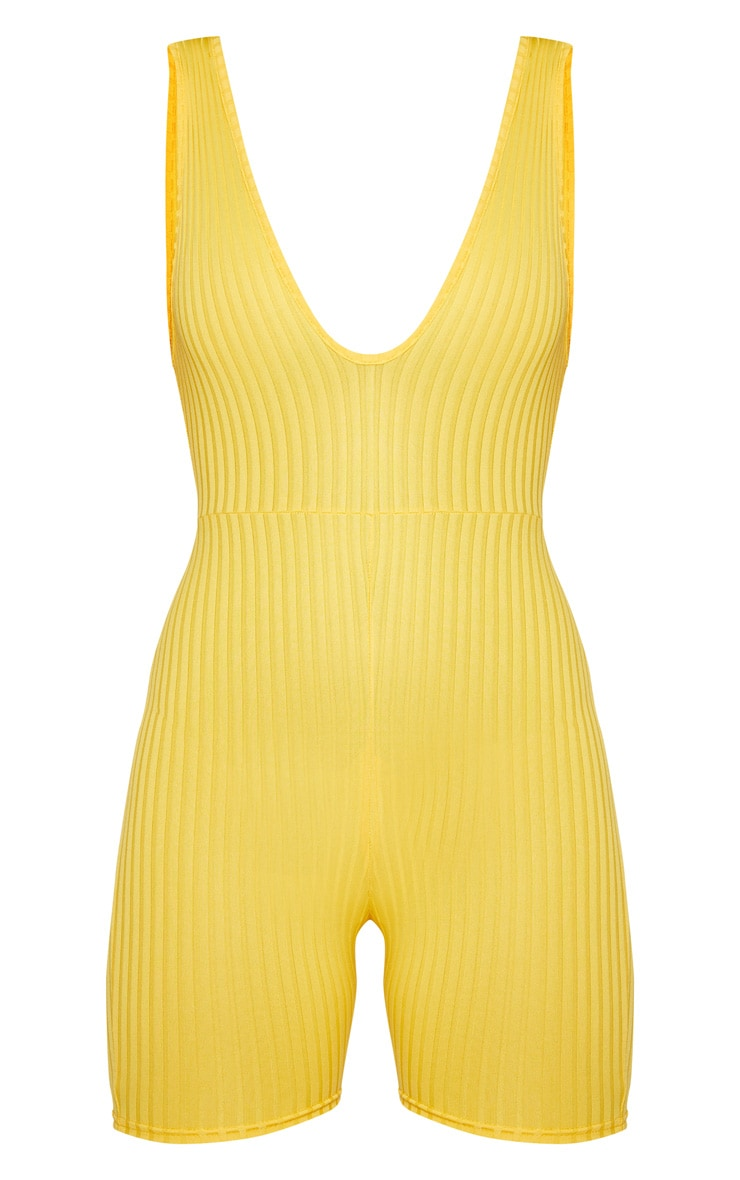 Yellow Ribbed Plunge Sleeveless Unitard 3