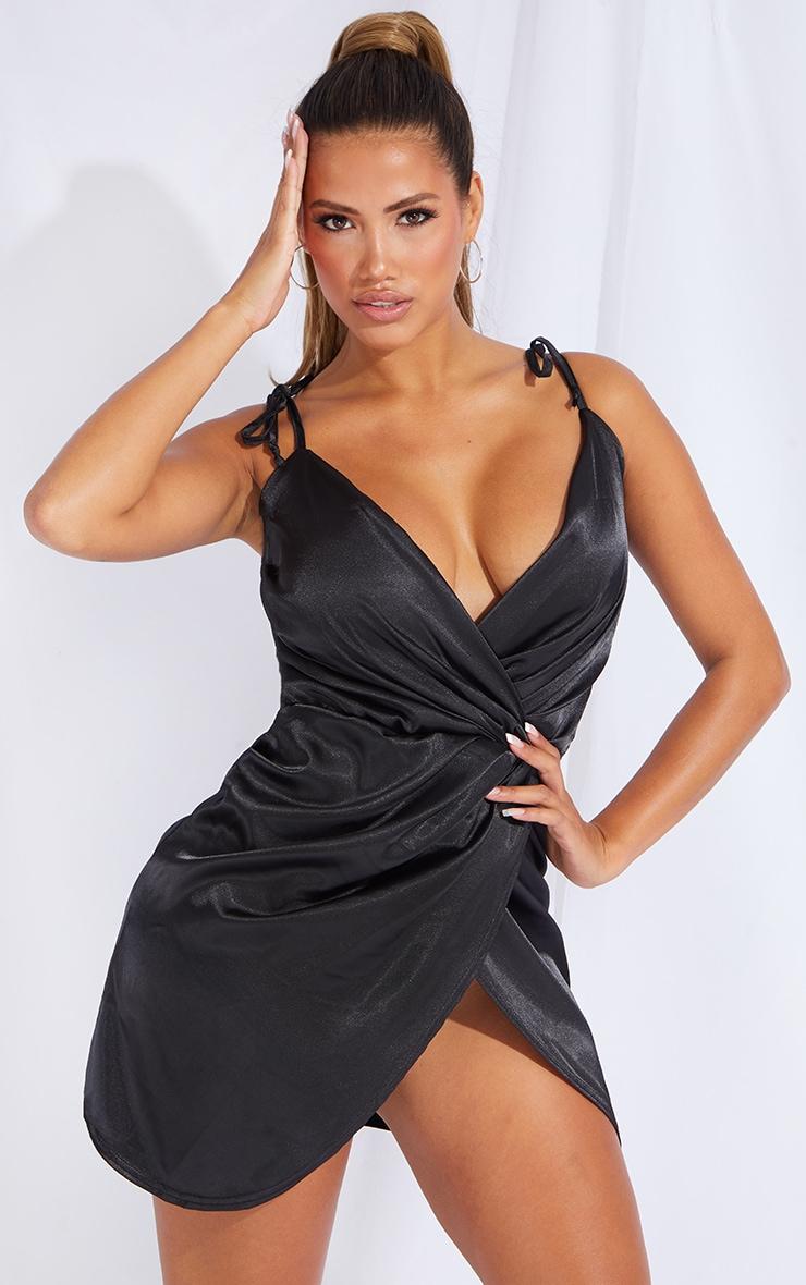 Shape Black Satin Tie Shoulder Wrap Bodycon Dress 1