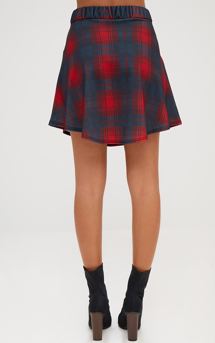 Red Check Tie Sleeve Mini Skirt 4