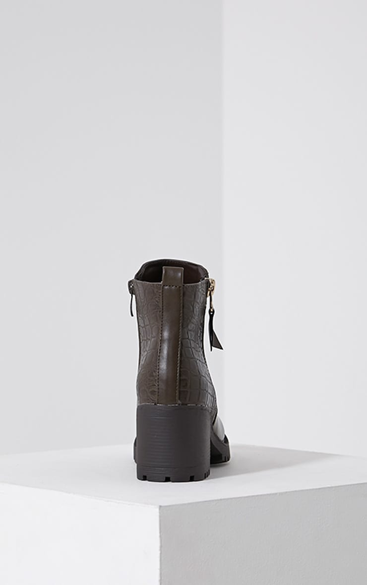 Maddie Taupe Croc Heeled Ankle Boots 5