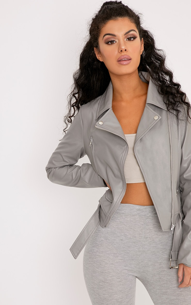 Polie Dark Grey PU Biker Jacket 1