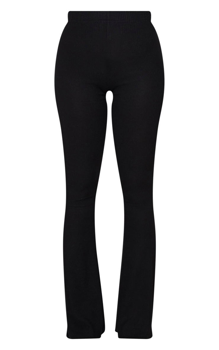 Shape - Pantalon fendu noir en maille côtelée brossée 5