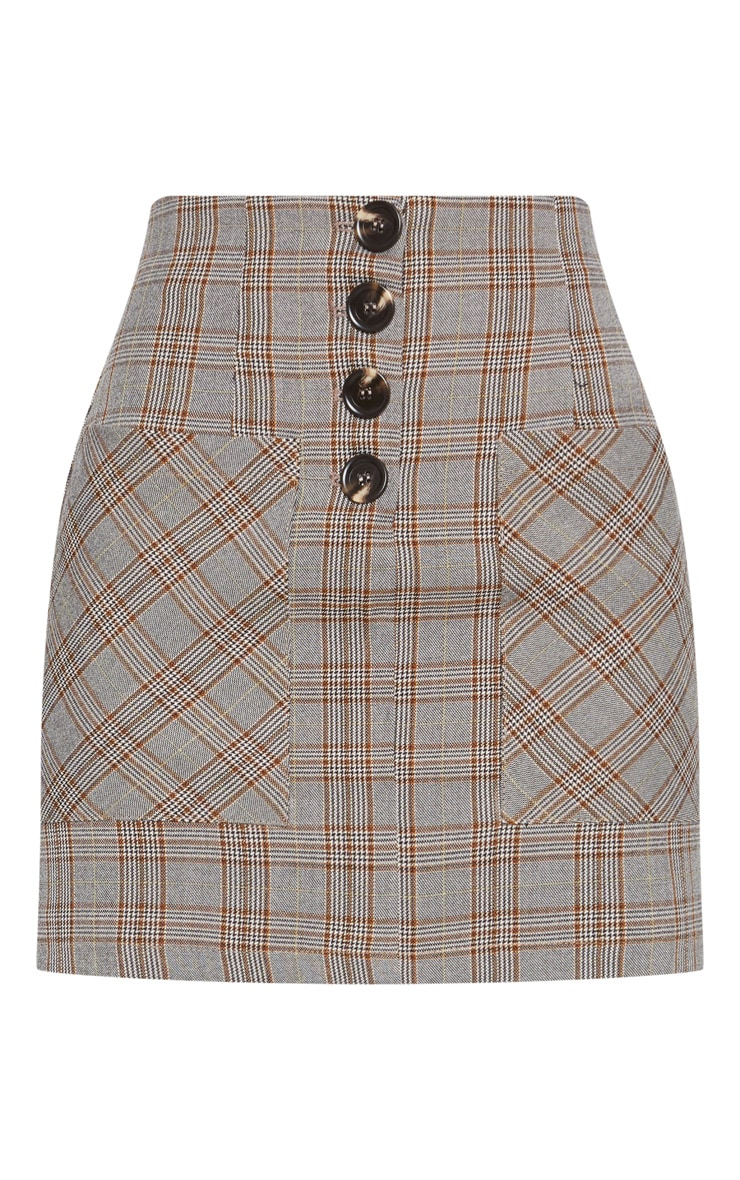 Brown Check Button Mini Skirt  3