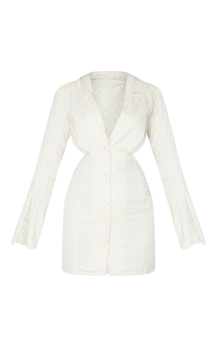 Stone Textured Shoulder Pad Cut Out Blazer Dress 5