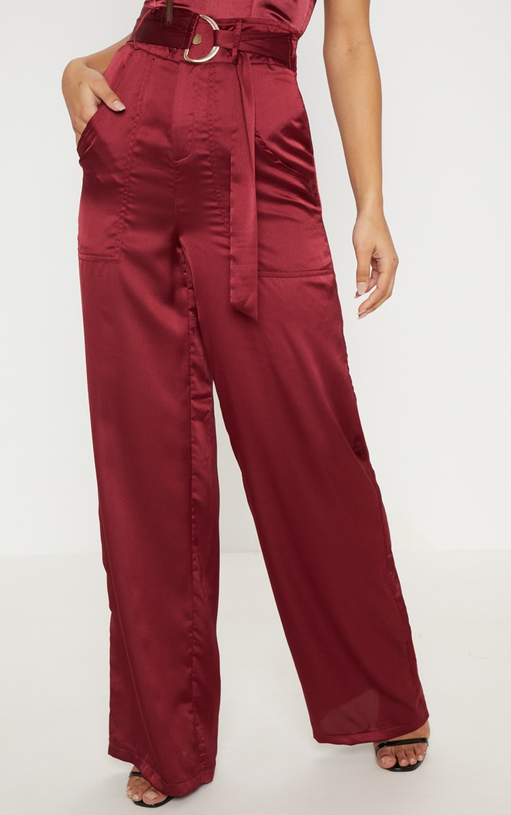 Maroon Satin D Ring Belt Wide Leg Trouser 2